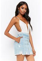 Distressed Denim Zip-up Mini Skirt
