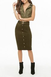 Faux Suede Button-front Pencil Skirt