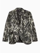 Grey Skinny Fit Moth Jacquard Single Breasted Blazer With Peak Lapels