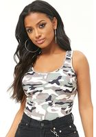 Camo Print Scoop Back Bodysuit
