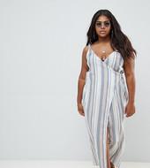 Vestido De Playa Largo Con Diseño Tejido Y Cruzado De Pico Y Estampado A Rayas De Asos Design Curve