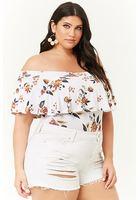 Plus Size Flounce Floral Print Bodysuit