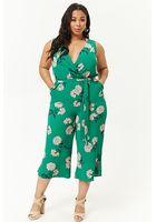 Plus Size Floral Print Jumpsuit