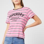 Superdry Women's Rae Stripe T-shirt - Millenial Pink Stripe - Uk 8 - Pink