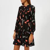 Whistles Women's Jasmine Feather Print Dress - Black/multi - Uk 6 - Black