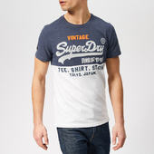 Superdry Men's Tri Panel T-shirt - Blue Marl - S - Blue
