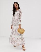 Vestido Largo Transparente Con Estampado Floral Y Detalle De Croché Para Festival De Y.a.s