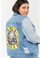 Plus Size Guns N' Roses Graphic Denim Jacket