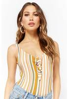 Striped Tie-front Bodysuit