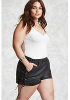 Plus Size Lace-up Shorts