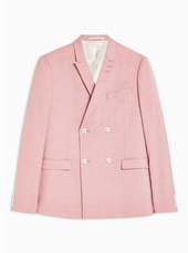 Pink Skinny Fit Double Breasted Blazer With Peak Lapels