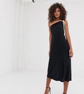Vestido Midi Ceñido Con Diseño Asimétrico Y Detalle De Cordón De Asos Design Tall