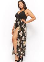 Plus Size Floral Maxi Skort Jumpsuit