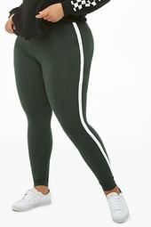 Plus Size Contrast Striped Leggings