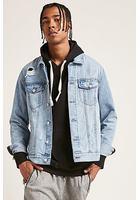 Distressed Denim Zip Jacket