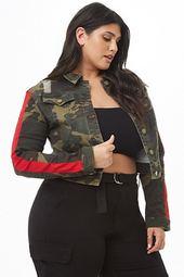 Plus Size Distressed Denim Camo Jacket