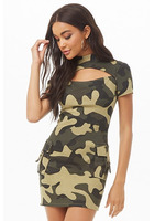 Cutout Camo Print Bodycon Dress