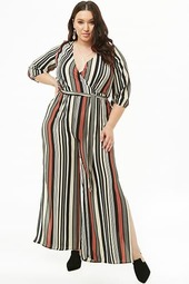 Plus Size Striped Surplice Crepe Jumpsuit