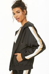 Active Striped-sleeve Windbreaker