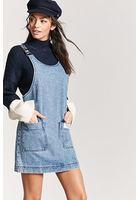 Pull-ring Denim Overall Dress
