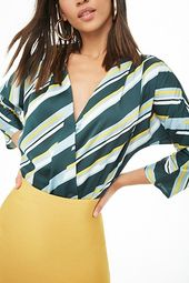 Broken Striped Surplice Bodysuit