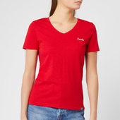 Superdry Women's Ol Essential Vee T-shirt - Rouge Red - Uk 8 - Red