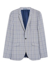 Blue Super Skinny Fit Windowpane Check Single Breasted Blazer With Notch Lapels