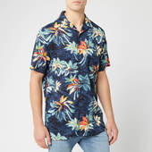 Tommy Hilfiger Men's Hawaiian Print Shirt - Vintage Indigo/jet Black/multi - S - Black