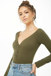 Button-accent Ribbed Bodysuit