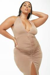 Plus Size Ruched Halter Maxi Dress