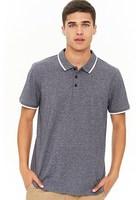 Contrast-trim Marled Polo Shirt