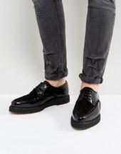 Zapatos De Cuero Negros Con Cordones Y Suela Estilo Creeper De Asos