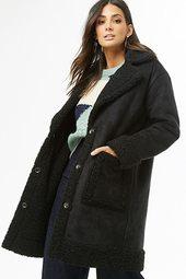 Faux Suede Longline Coat