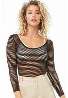 Open-knit Scoop-neck Bodysuit