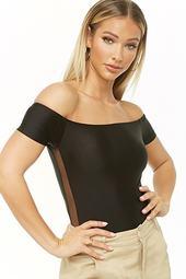 Off-the-shoulder Mesh-panel Bodysuit