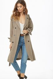 Herringbone Double-breasted Trench Coat