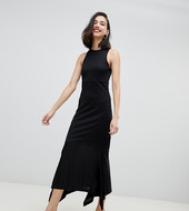 Vestido De Punto Fino Con Bajo Estilo Pañuelo En Negro Studio De River Island