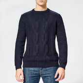 Ted Baker Men's Laichi Cable Crew Neck Knitted Jumper - Navy - 4/l - Navy