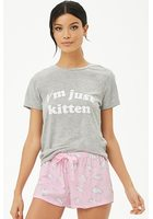 I'm Just Kitten Graphic Pajama Set