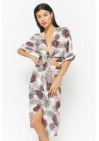 Feather Print Tie-front Top & Skirt Set