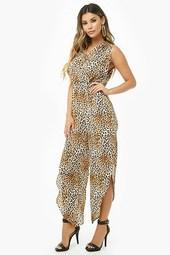 Crepe Leopard Print Slit-leg Jumpsuit