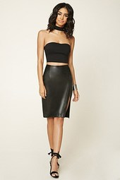 Faux Leather Slit Pencil Skirt