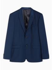Navy Slim Fit Premium Check Single Breasted Blazer With Peak Lapels