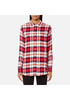 Joules Women's Laurel Long Line Shirt - Red Check - Uk 14 - Multi
