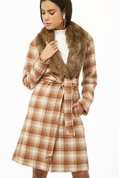 Faux Fur Plaid Wrap Coat