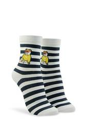 Bulldog Graphic Striped Crew Socks