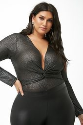 Plus Size Metallic Bodysuit