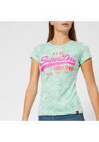 Superdry Women's Vintage Logo Aop Burnout Entry T-shirt - Burnout Mint - Xs/uk 8 - Green