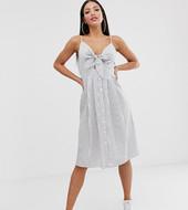 Vestido Midi A Rayas Con Lazo Anudado En La Parte Delantera De Missguided Tall