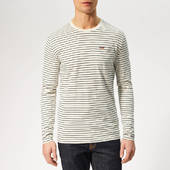 Superdry Men's Stripe Long Sleeve Top - Off White/navy - S - White